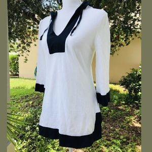 BANANA REPUBLIC white navy cotton tunic top XS